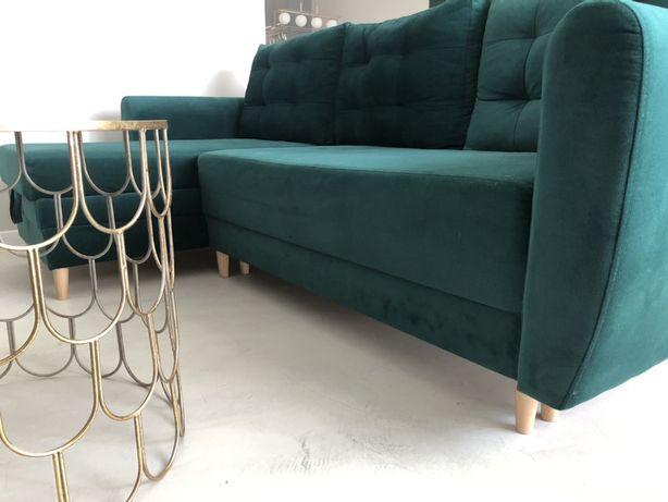 Sofa narożnik welurowa ciemna butelkowa zieleń
