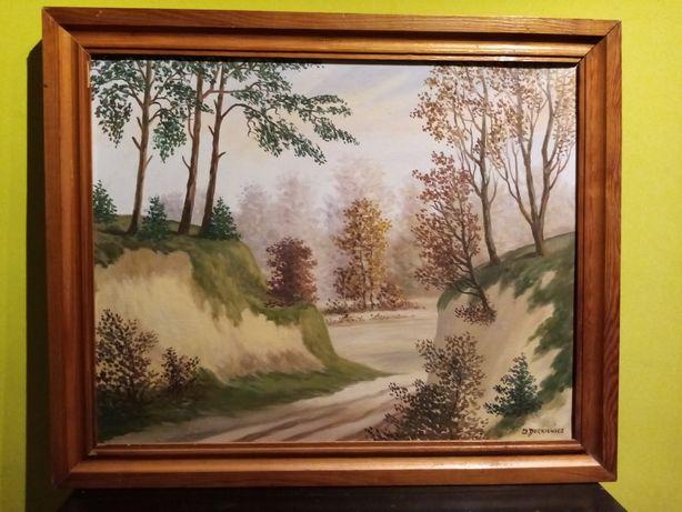 """Durkiewicz""""Wąwóz""""-piękny obraz olejny artysty ludowego!"""