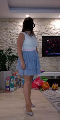 Sukienka koktajlowa rozmiar 40 tiul biała szara