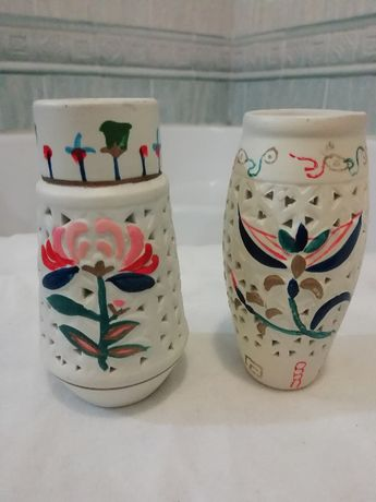 Paliteiros em loiça pintada à mão