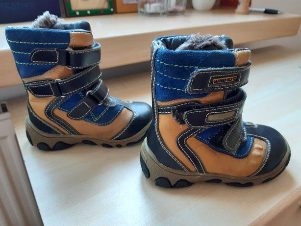 Buty zimowe, za kostkę, z kożuszkiem, chłopiec, r. 25.