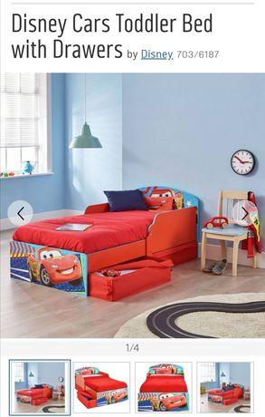 Łóżko Disney Cars z szufladami i materacem Silentnight