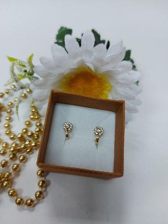 Złote dziecięce kolczyki kwiatki z cyrkoniami złoto 585
