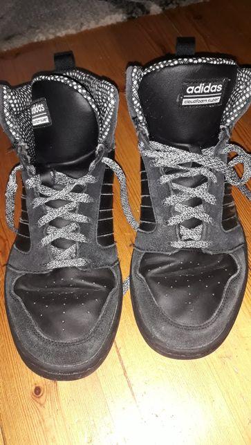 Buty sportowe Adidas, wysokie, zima, czarne, R. 38 2/3