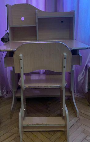 Парта растишка, стол и стул школьный с полками регулируемый по высоте