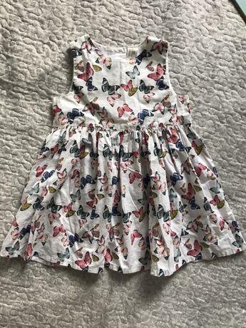 Bawełniana sukienka H&m motylki 86
