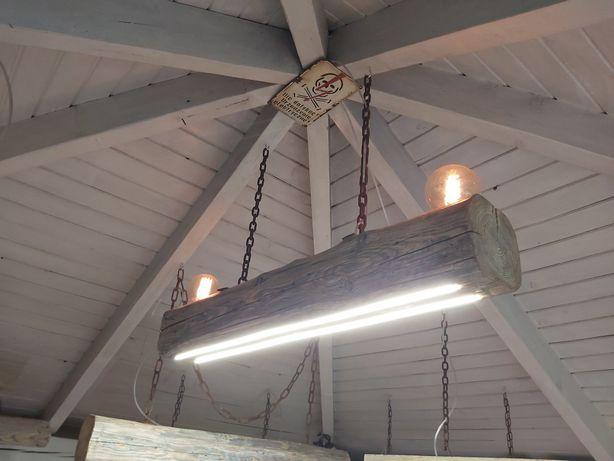 Drewniana lampa wisząca z belki LOFT. INDUSTRIAL