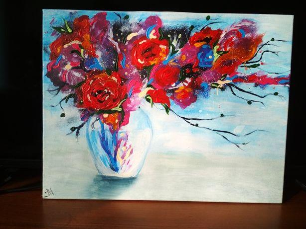 """Картина на холсте акриловыми красками """"сочная ваза"""""""