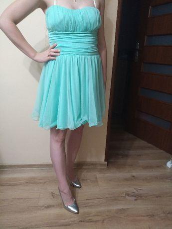 Piękna, zwiewna sukienka miętowa ! Roz. S.