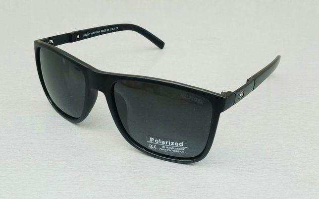 Tommy Hilfiger стильные мужские очки черные в мате поляризированые