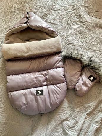 Śpiworek+rękawiczki+kocyk marki cottonmoose