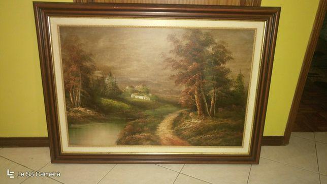 Quadro pintado a óleo, paisagem campestre, moldura madeira, como novo