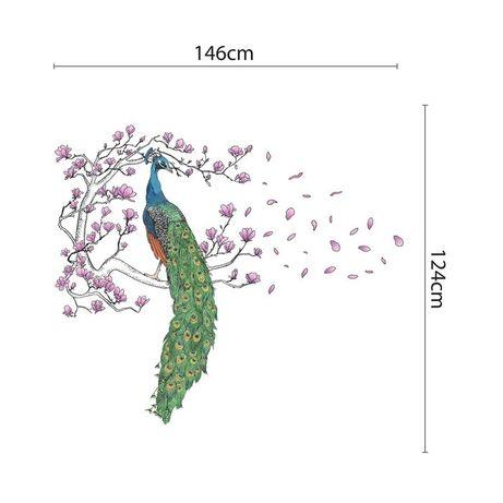 Naklejka na ścianę drzewo z pawiem i magnolią