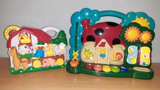 2 zabawki muzyczne - edukacyjne - pianinko - odgłosy zwierząt melodia