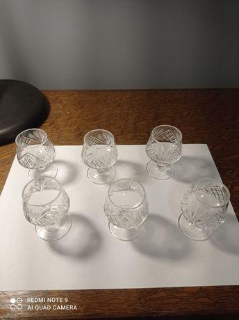 Kryształowe kieliszki do koniaku 6 sztuk PRL
