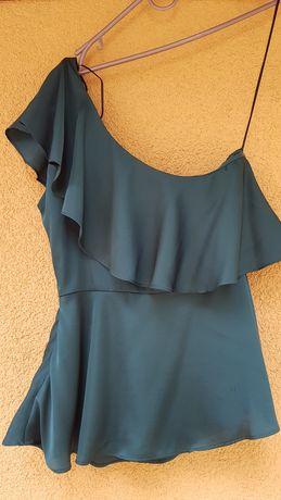 Блуза бутылочного цвета H&M 34