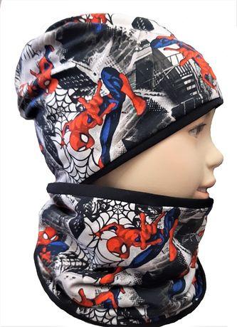 Komplety czapka i komin jesienne spiderman 0-15 lat