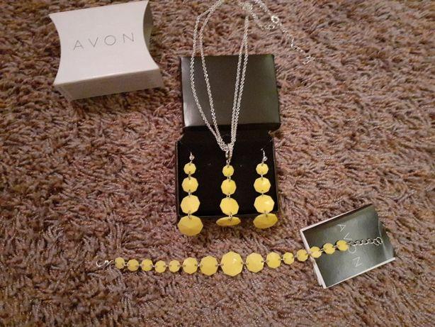 Komplet żółtej biżuterii Avon