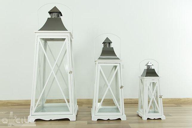 Stylowy biały LAMPION ogrodowy złoto lampa latarnia drewno szkło