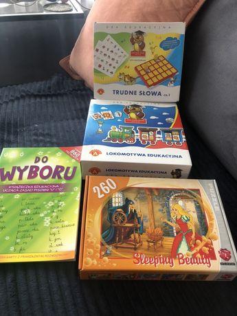 Zestaw gier edukacyjnych + puzzle i książka edukacyjna