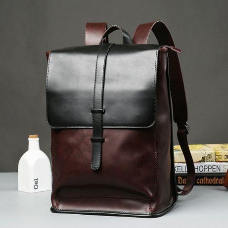 Мужской кожаный коричневый городской рюкзак ранець сумка для ноутбука