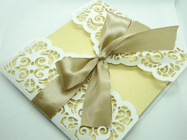 ażurowe zaproszenie na ślub zaproszenia ślubne złote chrzest