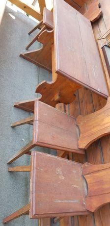 Stół drewniany z 4 krzesłami ręcznie robiony