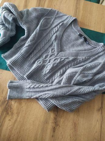 Sweter sweterek oversize szary dekolt warkocz