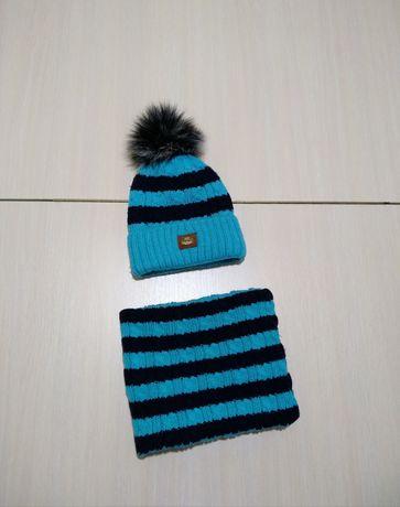 Набор шапка и хомут зимний