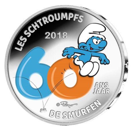 moeda 5€ euro comemorativa Bélgica 2018 proof 60 anos estrunfes Smurf