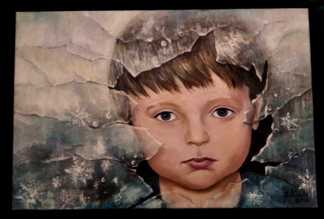 Portret chłopca , obraz olejny 40 x 60, przesyłka gratis!