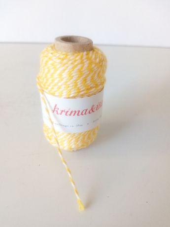 Sznurek dwukolorowy biało żółty Krima Isa dekoracyjny