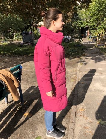 Пальто осеннее яркая розовая куртка женская