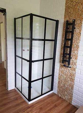 Nowa Kabina prysznicowa czarna  w stylu loftowym 80x80