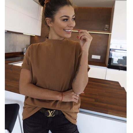 Koszulka camel S modna brązowa