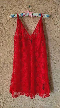 Koszulka Halka Piżama Koronka Czerwona
