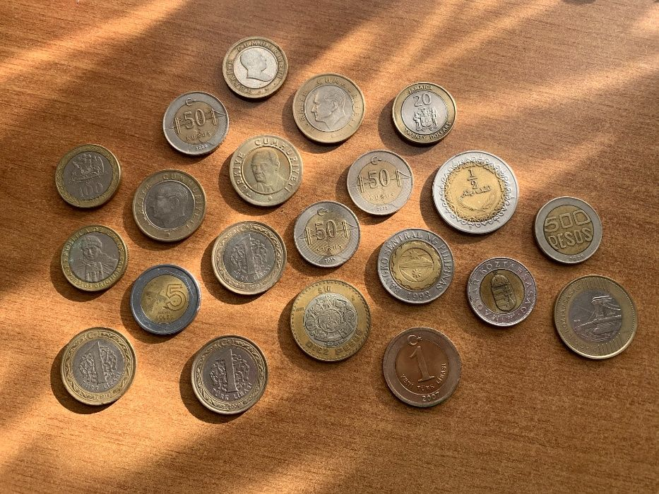 Монеты разных стран биметалл, Венгрии, Ямайки, Ливии, Мексики, Турции Одесса - изображение 1