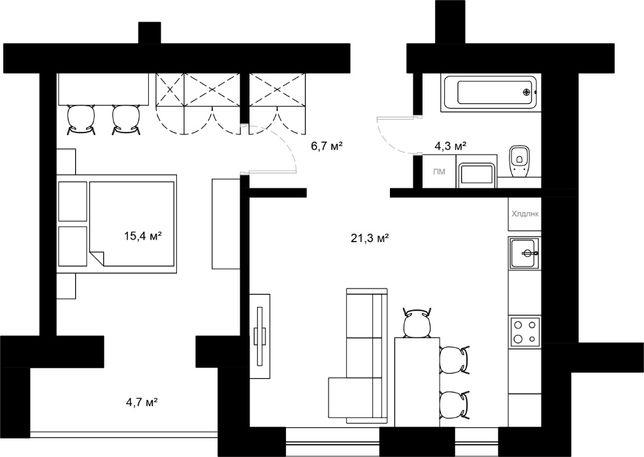 Продається велика 1-кімнатна квартира в новобудові. 52,4 м. кв. Пасічн