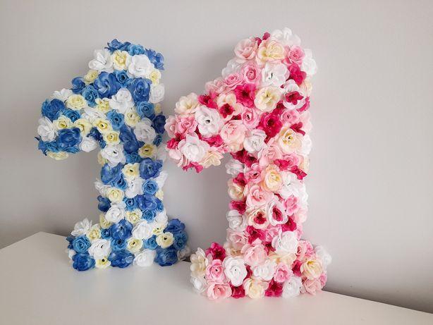 Liczba litera cyfra kwiatowa roczek chrzest komunia sesja ozdoba deko