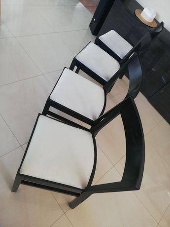 Komplet krzeseł IKEA drewno, czarny / beż