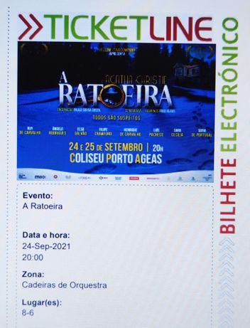 Vendo 4 bilhetes A RATOEIRA, 24 set, lugares Vip