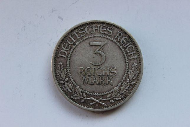Веймарская Республика Германия 3 марки 1926 Любек Серебро