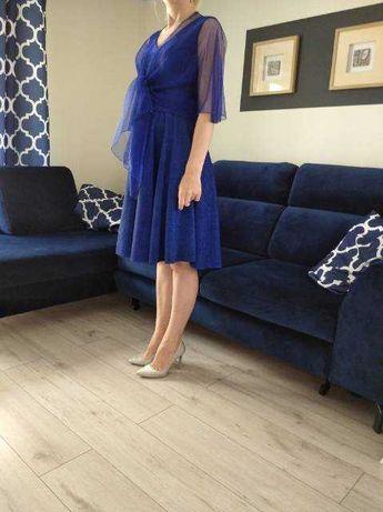 Sukienka kobaltowa z brokatem roz 36