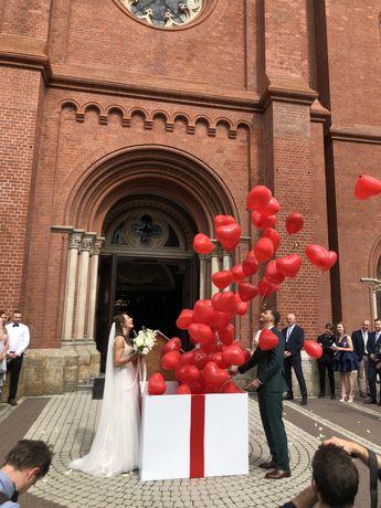 Pudełko z balonami, hel, balony, wesele, niespodzianka, ślub