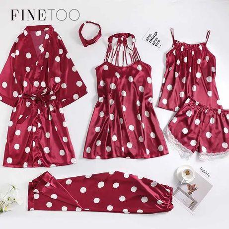Новый комплект пижама, ночнушка Finetoo, шорты, майка, халат, пеньюар