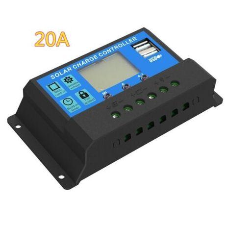 Regulator ładowania 20A LCD + USB do paneli słonecznych