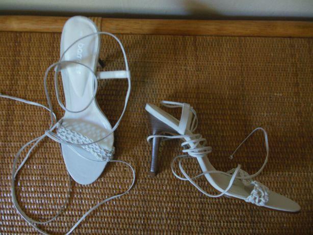 sandałki damskie wiązane na rzemyki białe nowe