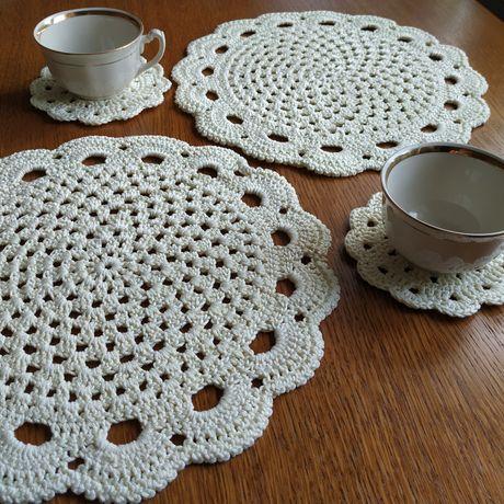 Podkładki pod talerze, kubek, komplet, rękodzieło handmade