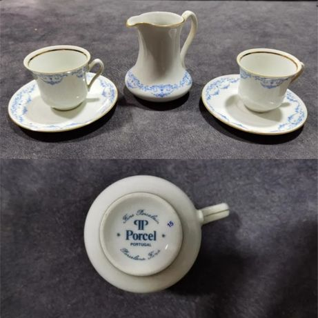 Chávenas de Café com Leiteira de Porcelana Fina de 1999