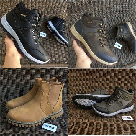 40-45р Зимние ботинки кроссовки челси на меху черные коричневые серые